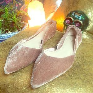 Soft Pink Velvet Flats